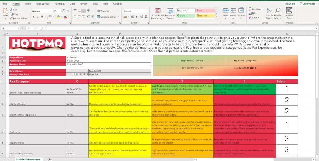 Initial Project Risk Assessment Template