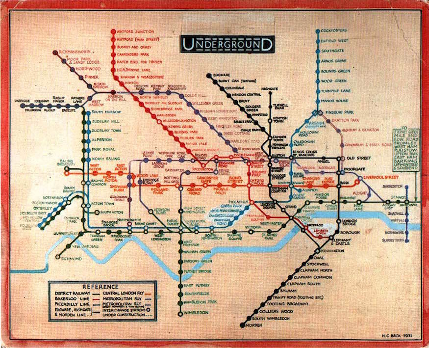 Beck tube map 1931 - Understanding Maps will help your Project Management Office (PMO) Career
