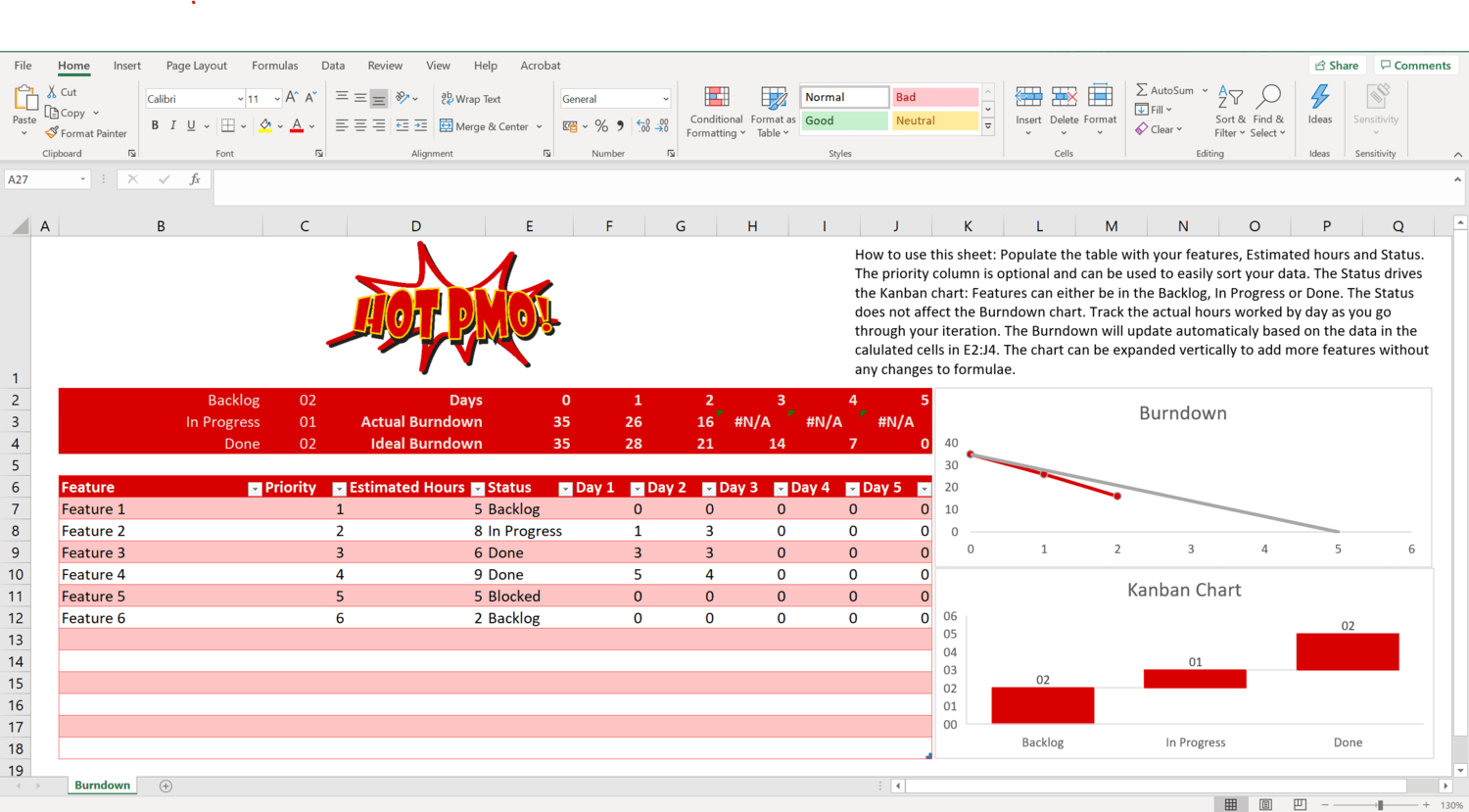 Image of an Excel Spreadsheet containing an agile burndown chart.