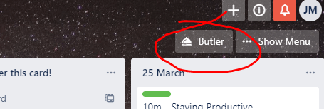 An image of the button used to launch Butler Automation within Trello