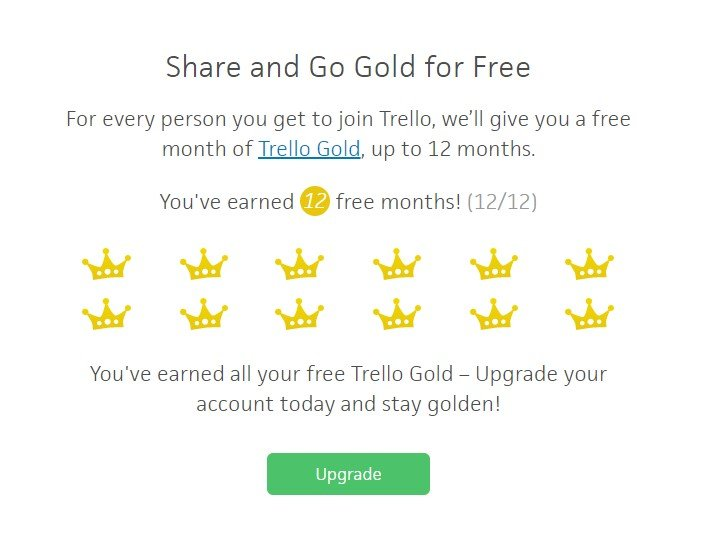 Image of the Trello Gold page of the Trello Website