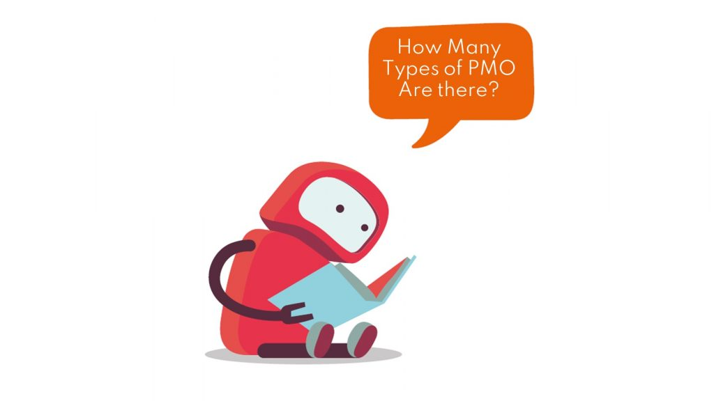 """Sparky, our PMO Bot reading a book and asking, """"How Many types of PMO are there?"""""""